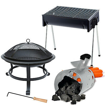 Black Bbq Grill Folding Chimenea Fire Pit Outdoor Champing Indoor Heaters Large