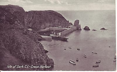 Isle of Sark, Creux Harbour. Steam Ship, Boats & Harbour below Cliffs GC