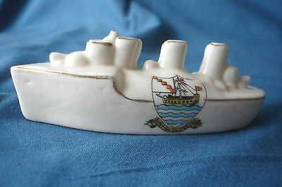 Ww1 Arcadian Crested China Torpedo Boat Destroyer Budleigh Salterton Crest