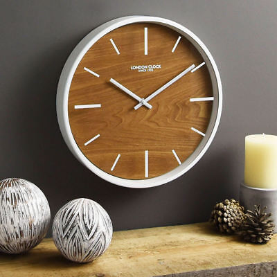 London Clock Company SKOG Wall Clock 30cm Metal Wood White SILENT