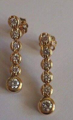 6 stone DIAMOND earrings JOINTED drop dangle STUDS round brilliant 18ct gold