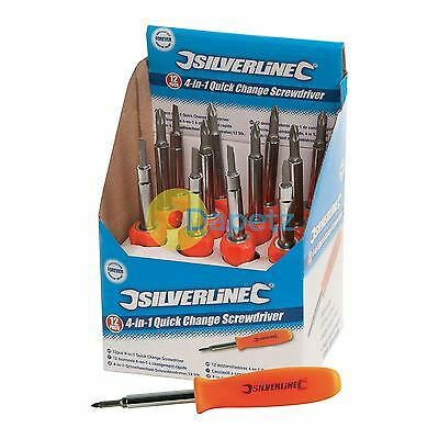 12Pce 4-In-1 Quick Change Screwdriver Display Box