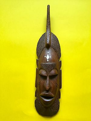 African Tribal Hand Carved Wooden Small 42cm Mask + Free UK Delivery