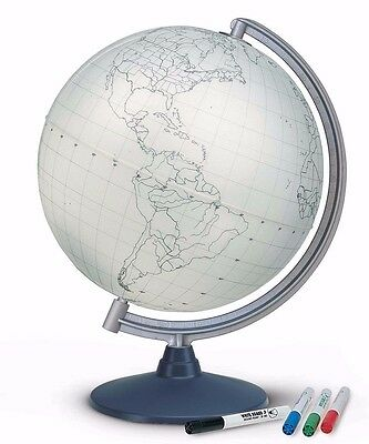 Globe 30cm WRITE ON OR COLOUR IN Laminated Outline Only with 4 Colour Fibre Pens