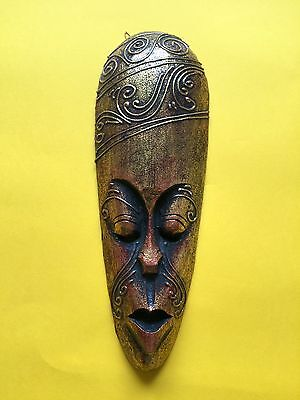 Indonesian Tribal Hand Carved Gold Wooden Small 31cm Mask + Free UK Delivery