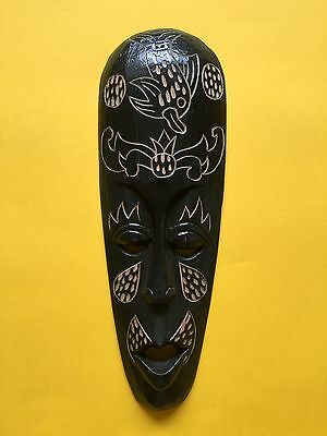 Indonesian Tribal Hand Carved Black Wooden Small 31cm Mask + Free UK Delivery