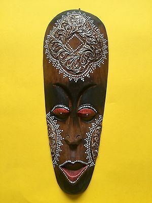 Indonesian Tribal Hand Carved Wooden Small 31.5cm Mask + Free UK Delivery