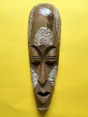 Indonesian Tribal Hand Carved Wooden Small 30.5cm Mask + Free UK Delivery