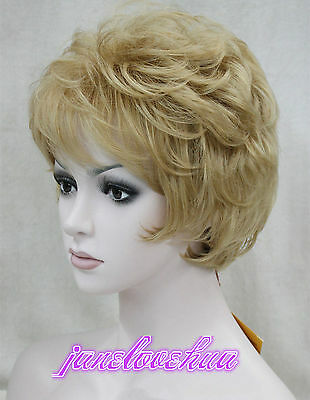 Ladies fashion Short Curly Golden Blonde Natural Hair Women's Wigs + wig cap