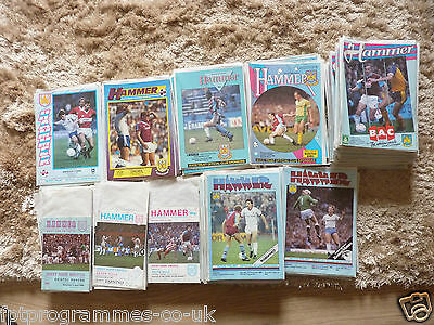 West Ham Home Programmes 1980/81 to 1989/90. Select the one you want
