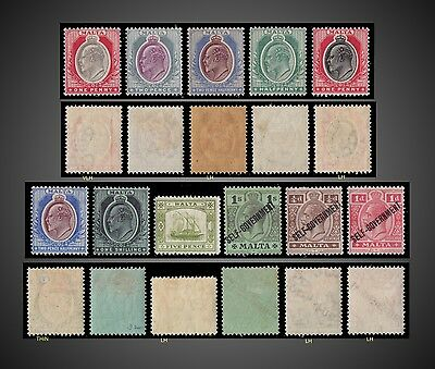 1903 To 1922 Malta King George V And King Edward Vii Small Lot Mint