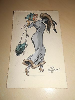 Early 1911 Art Nouveau French Glamour/fashion Pc - Stylish Young Lady