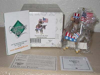 Charming Tails Fitz & Floyd YOU'VE GOT MY VOTE Flag Donkey mouse tales NIB