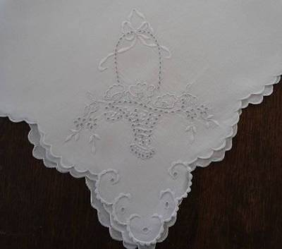 Large Vintage Madeira Linen Wedding Basket Dinner Napkins Embroidered Eyelet