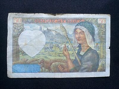 France, French Banknote, 50 Francs 1941, WWII, Very Rare