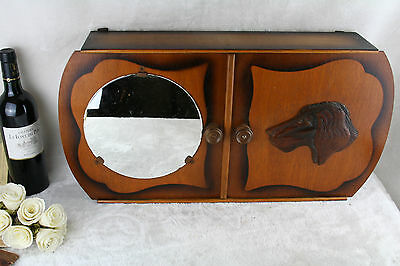 Vintage 50's Wood Medicine Apothecary Cabinet wall hunting dog mirror