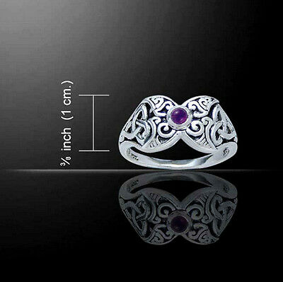 Sterling Silver Triple Moon Ring Celtic/Wiccan Genuine Amethyst Size 7