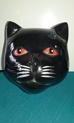 "Ceramic black cat head musical trinket box plays ""Memories"""