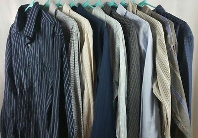 Button Up Striped Shirts Casual Dress Long Sleeve Men's Mixed Lot Of 10 Size L