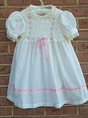 vintage little girls dress cream and pink spring handsmocked by pioneer size 6