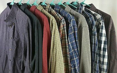 Button Up Plaide Check Shirts Casual Dress Long Sleeve Mens Mixed Lot Of 10 Sz L