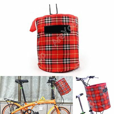 Bike Bicycle Front Folded Handlebar Canvas Storage Basket Carrier Tote Bag Red