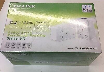 Tp-Link Tl-Pa4020Pkit 500Mbps Home Plug Powerline Kit With Ac Pass Through