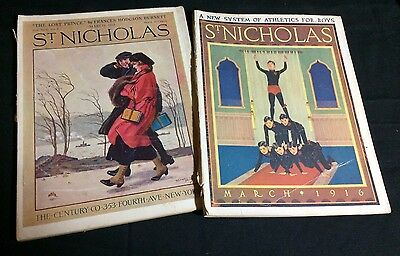 Lot of 2 ST. NICHOLAS Children's Magazine March 1915 & March 1916 Illustrated