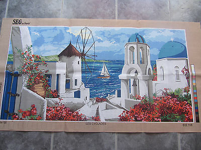 Canvas Tapestry Needlepoint Printed Embroidery Gobelin Seg Les Cyclades Sea New