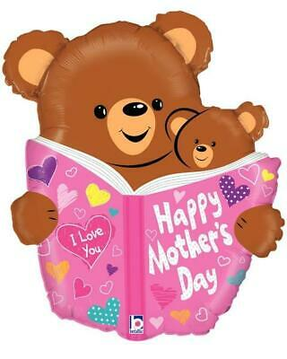 """Happy Mothers Day Book Bear 28"""" Shaped Foil Balloon"""