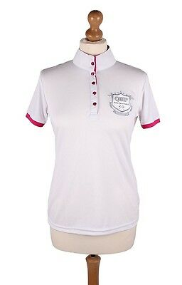 QHP Special Edition Competition Shirt White with Pink Detail Size 12
