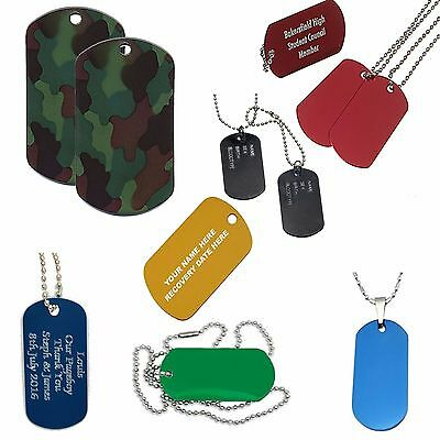 Army Dog Tag Personalised Name Necklace, Custom Engraved Red Blue Camo Gift, UK