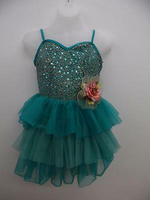 Dance Costume Large Child Green Sequin Tutu Jazz Solo Competition Pageant Glitz