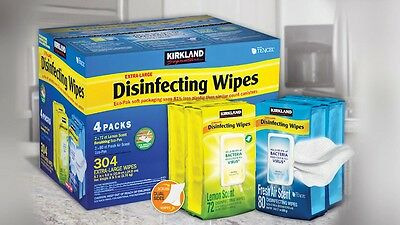 Kirkland Signature Household Surface Wipes Extra Large - Pack of 4, 304 Wet
