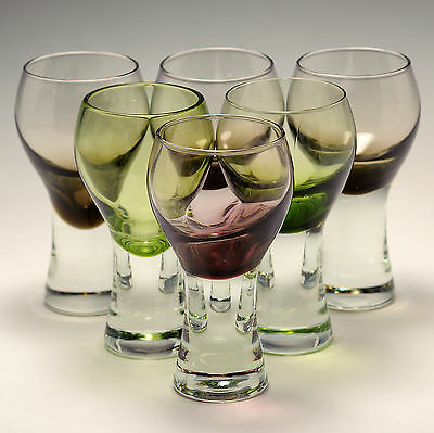 Caithness Glass Canisbay 6 Wine Glasses 5.25 Heather, Peat & Moss Green 1972