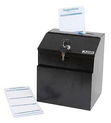 Adir Black Wall Mountable Steel Suggestion Box W/ Lock Collection Box Charity