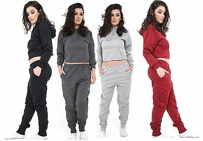 Ladies New Premiume Distressed Laser Cut Hooded Crop Top Pocket Jogger Lounge