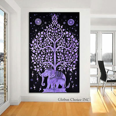 Elephant under tree Tapestry Hippie Wall Hanging Bohemian Indian Home Throw Art