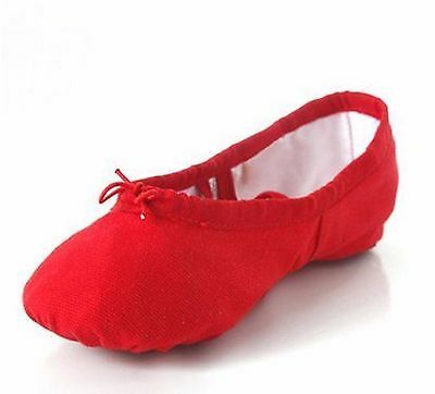 Red Split Sole Canvas Ballet Dance Gymnastic Shoes