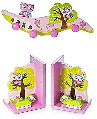 Pink Owl Themed Children's Bookends And Four Pegged Coat Hook Wall Hooks For Or