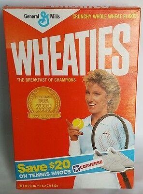 Vintage 1987 General Mills Chris Evert Lloyd Wheaties Cereal Box,Converse Offer