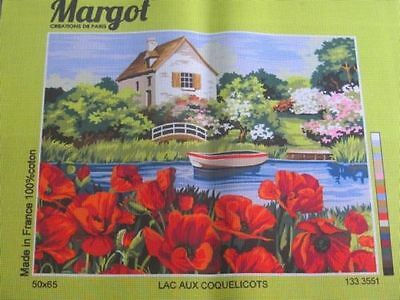 Canvas Tapestry Needlepoint Printed Embroidery Gobelin Margot Lac Coquelicot New