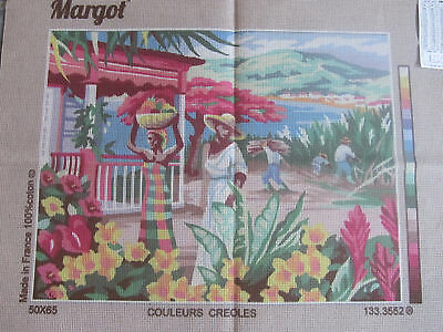 Canvas Tapestry Needlepoint Printed Embroidery Gobelin Margot Couleurs Creoles