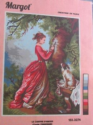 Canvas Tapestry Needlepoint Printed Embroidery Gobelin Margot Chiffre Amour New