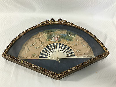Antique 1800's Victorian Style Fan Hand Carved And Painted Lithograph