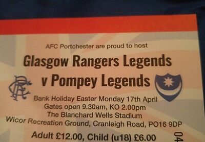 glasgow rangers v pompey legends x2 tickets Lee Rigby charity match