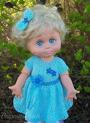 Hand Knitted Aqua Turquoise Easter Dress & 2 Bows to Fit Galoob Baby Face Dolls