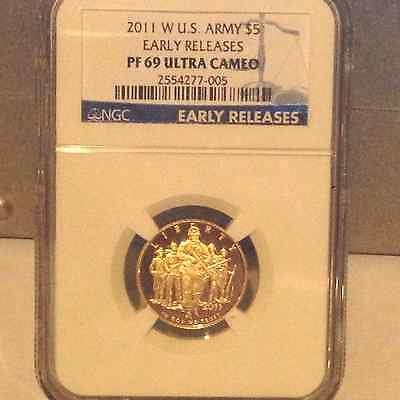 2011-W $5 United States Army Gold Proof Early Releases Ngc Pr69 Ultra Cameo