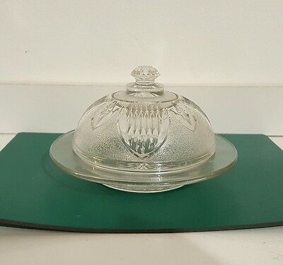 Vintage Cut Glass Round Cheese/butter dish