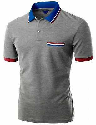 FashionOutfit Men's Classic Casual Short Sleeve Ribbed Collar Polo Tee Shirt Top